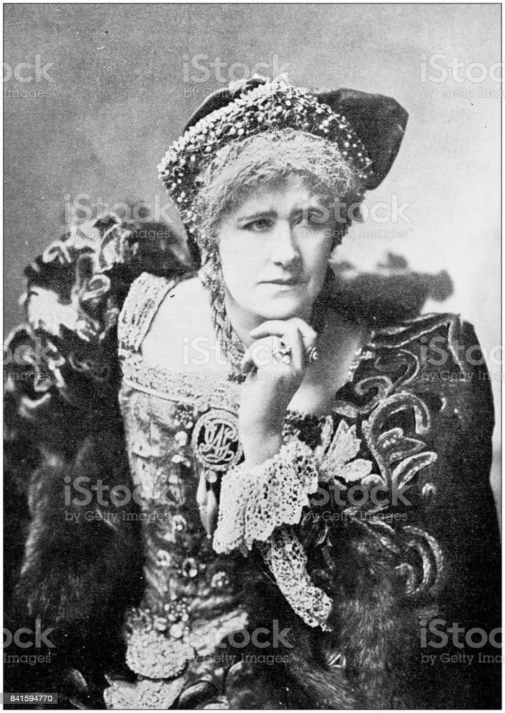 Antique photo: Actress impersonating Queen Katherine stock photo