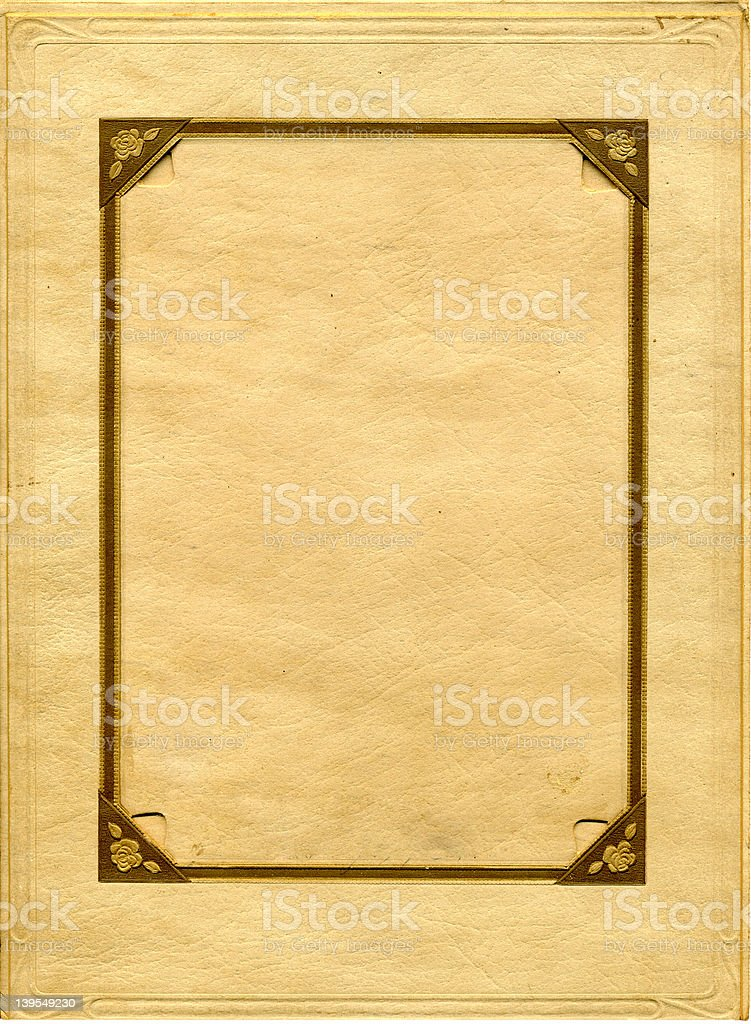 Antique photo frame with flower corners royalty-free stock photo