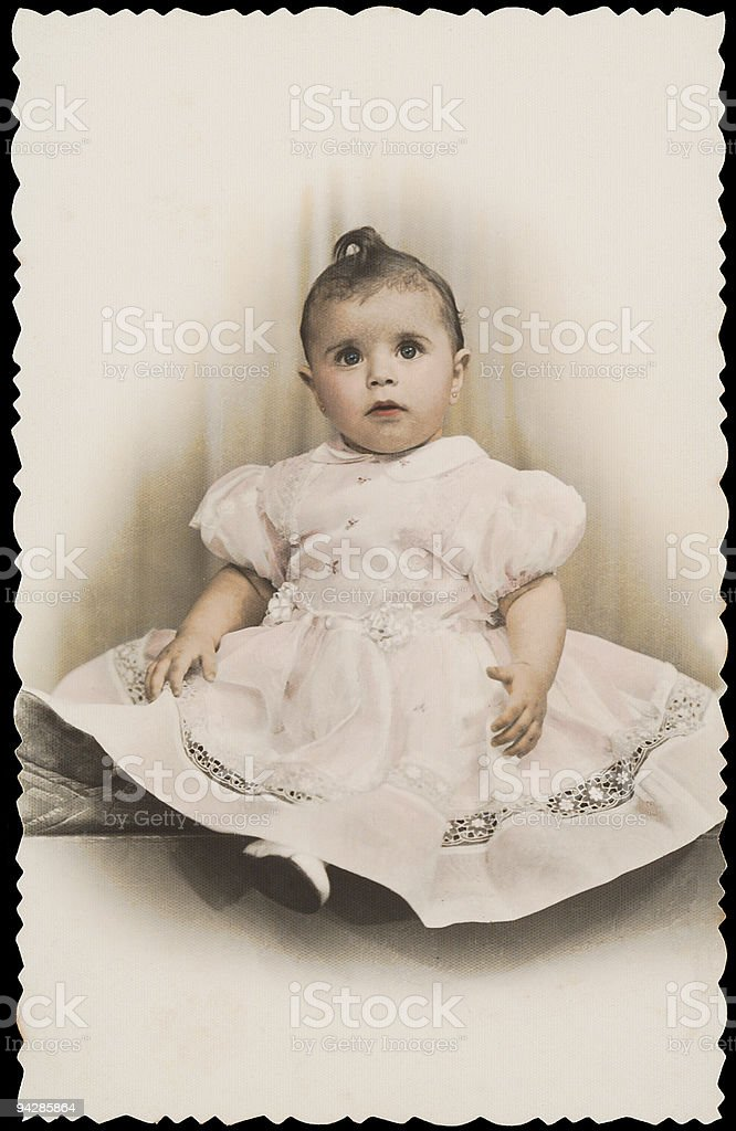 Antique photo of girl in nice dress 1 stock photo