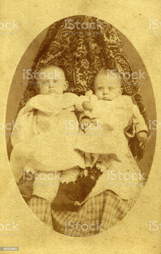 Antique Photo of Two Young Children, Circa 1890 royalty-free stock photo