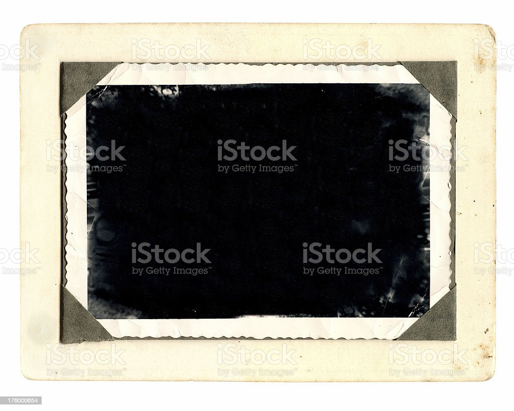 Antique photo with corner tabs and wavy edges stock photo