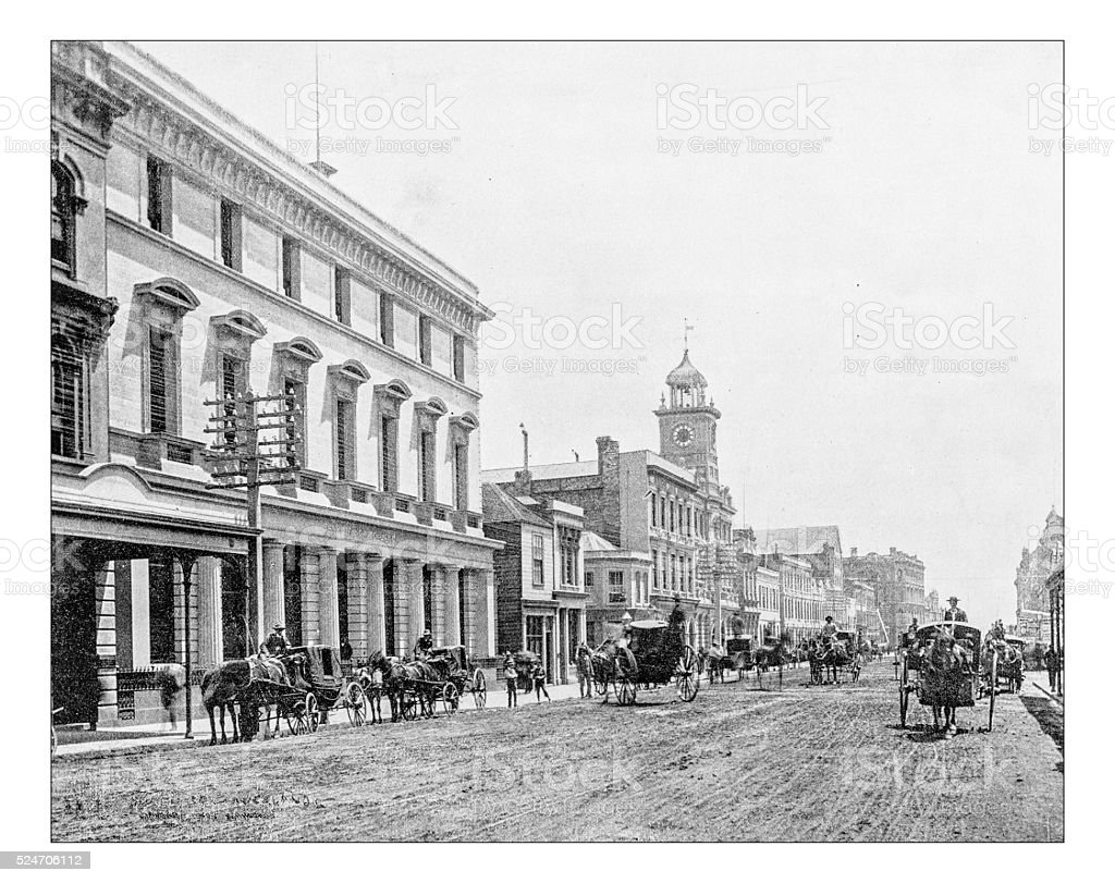 Antique photograph of 19th century  Queen Street  (Auckland, New Zealand) stock photo