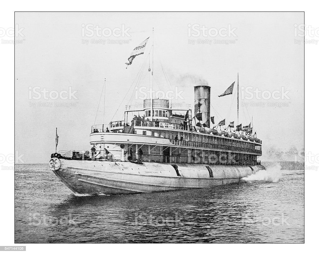Antique photograph of 19th century steamboat stock photo