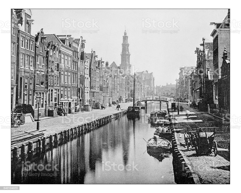 Antique photograph of a Canal in Amsterdam (Netherlands)-19th century stock photo