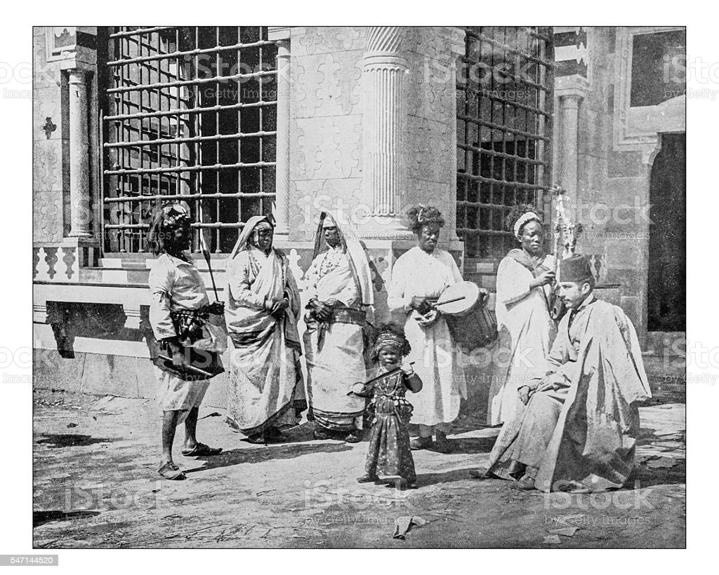Antique photograph of a group of Soudanese and Nubians (1893) stock photo