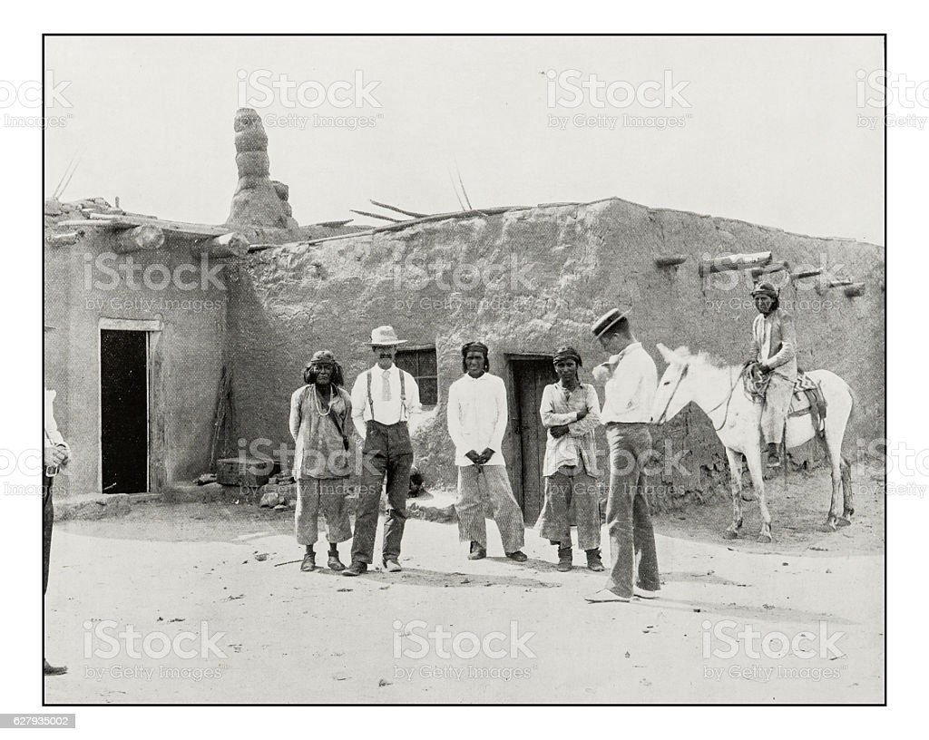 Antique photograph of Adobe house in New Mexico stock photo