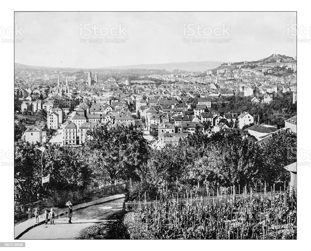 Antique photograph of aerial view of Stuttgart (Germany)- 19th century stock photo