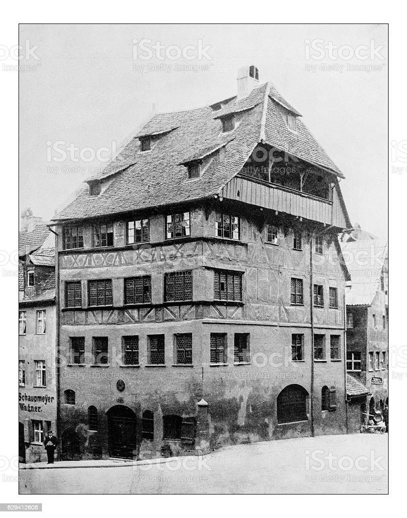 Antique photograph of Albrecht Dürer's House (Nuremberg, Germany)-19th century picture. stock photo