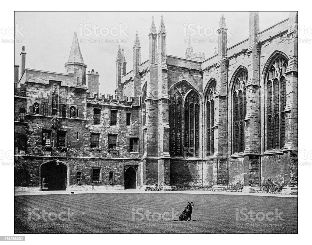 Antique photograph of All Souls College (Oxford University,England)-19th century stock photo
