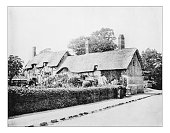 Antique photograph of Anne Hathaway's cottage (Shottery, England).-19th century picture