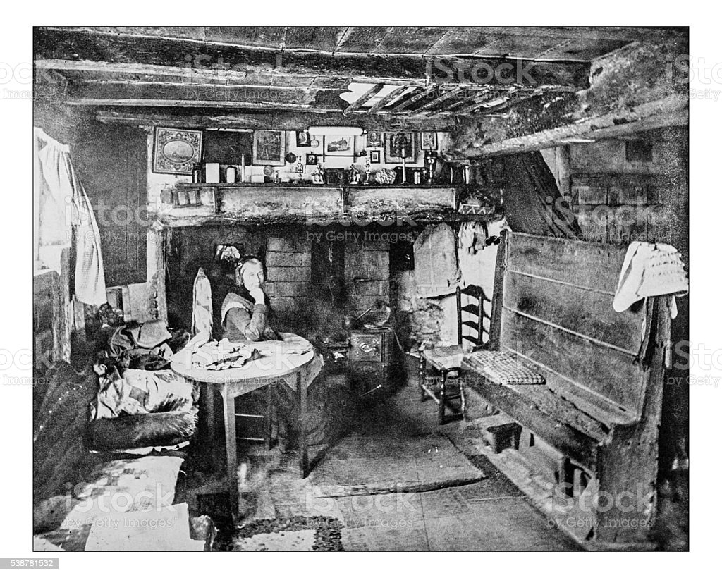 Antique photograph of  Anne Hathaways' Cottage interior(Shottery,England)-19th century image stock photo