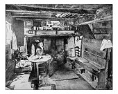Antique photograph of  Anne Hathaways' Cottage interior(Shottery,England)-19th century image