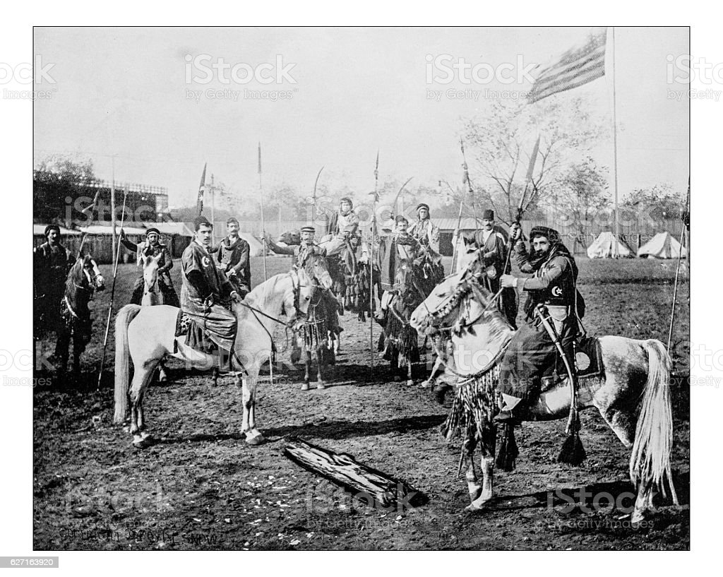 Antique photograph of Arabian horsers and riders-World's Columbian Exposition, Chicago-1893 stock photo