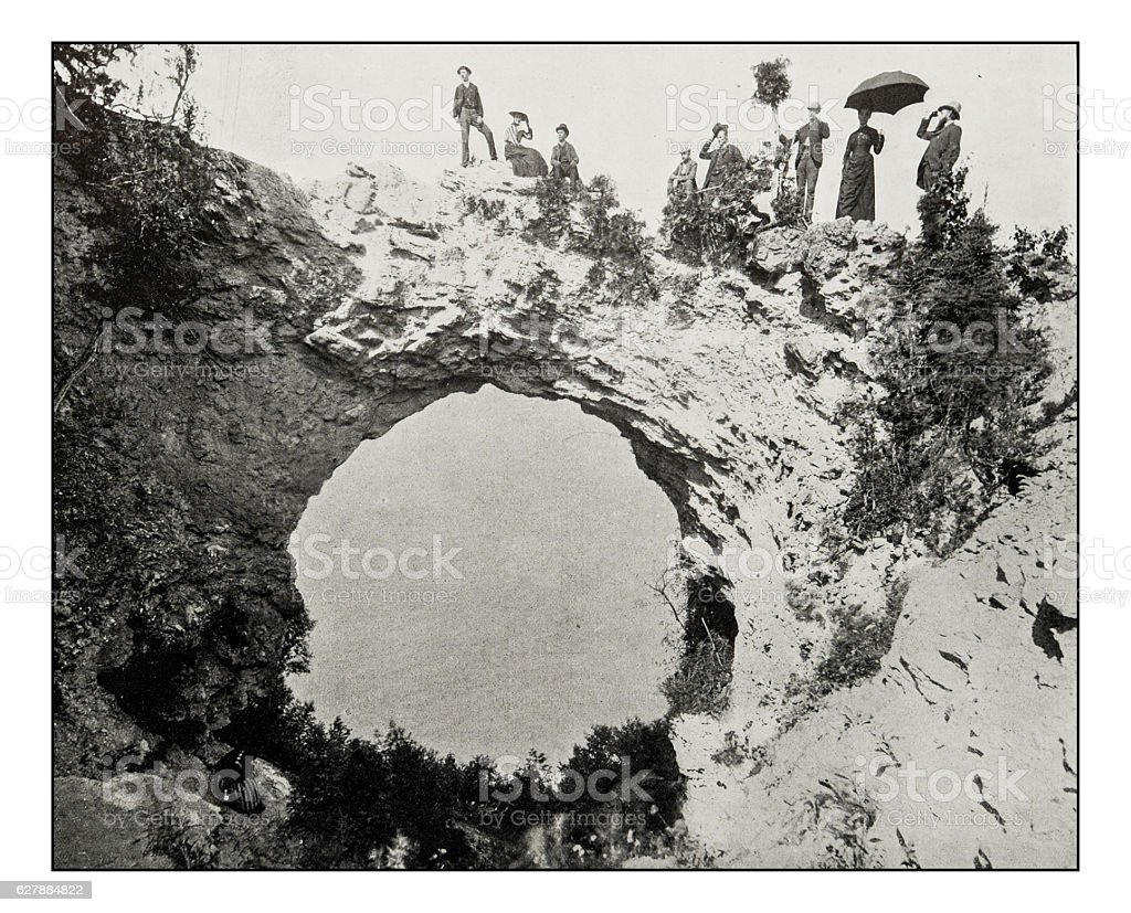 Antique photograph of Arch rock, Mackinac Island stock photo