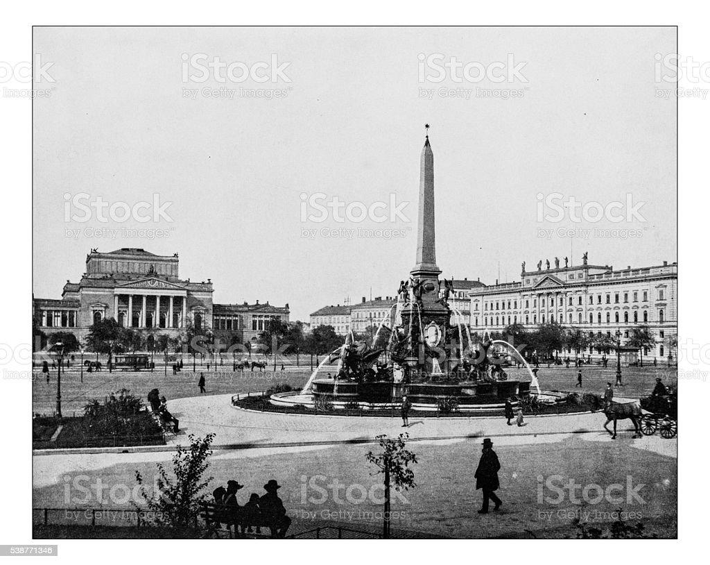 Antique photograph of Augustusplatz (Leipzig, Germany) -19th century stock photo