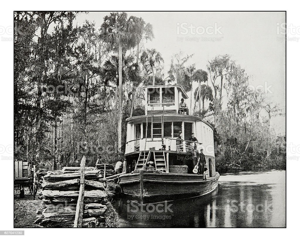 Antique photograph of boat on Ocklawaha River, Florida stock photo