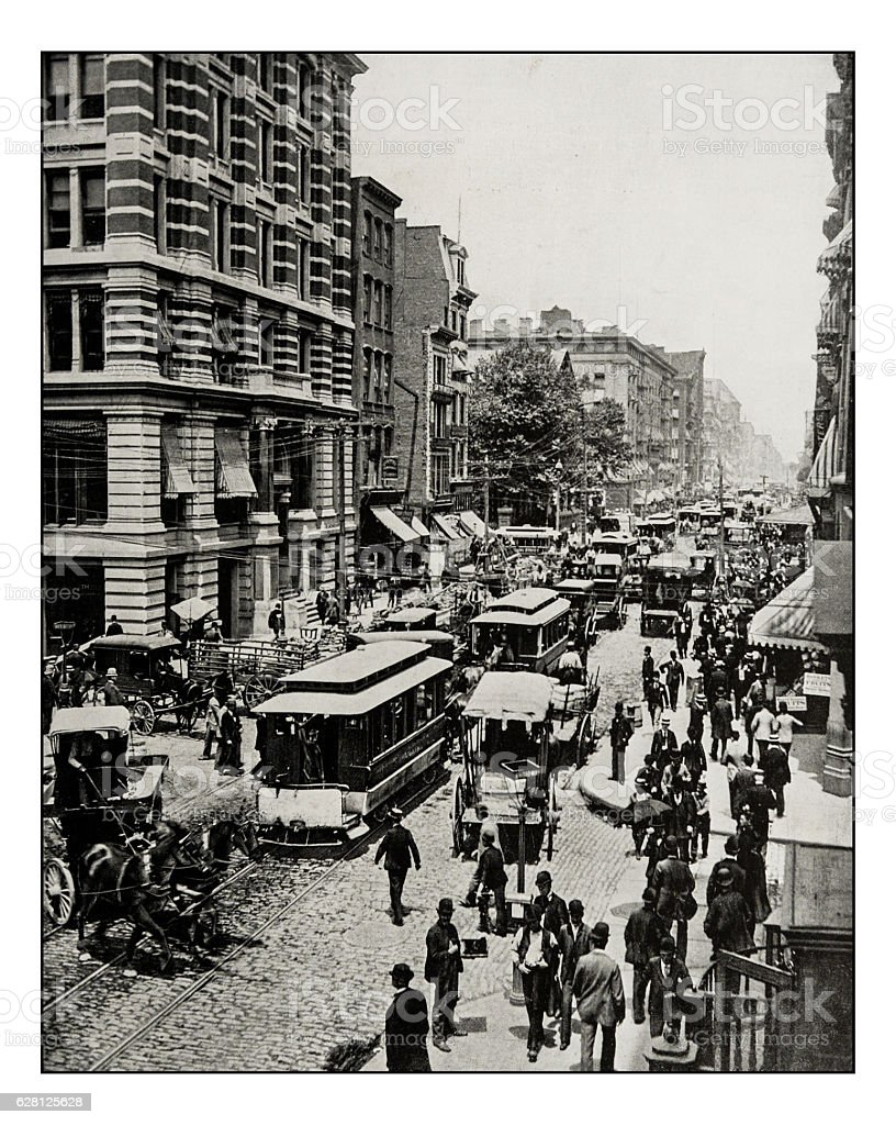 Antique photograph of Broadway, New York stock photo