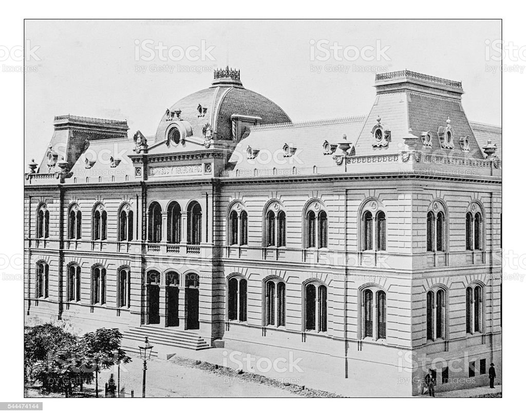 Antique photograph of Buenos Aires Central Post Office (Argentina)-19th century stock photo