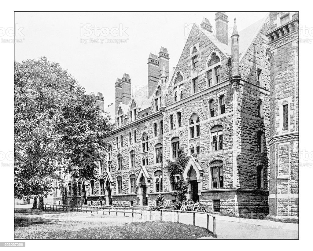 Antique photograph of building of Yale(19th century), New Haven, Connecticut stock photo