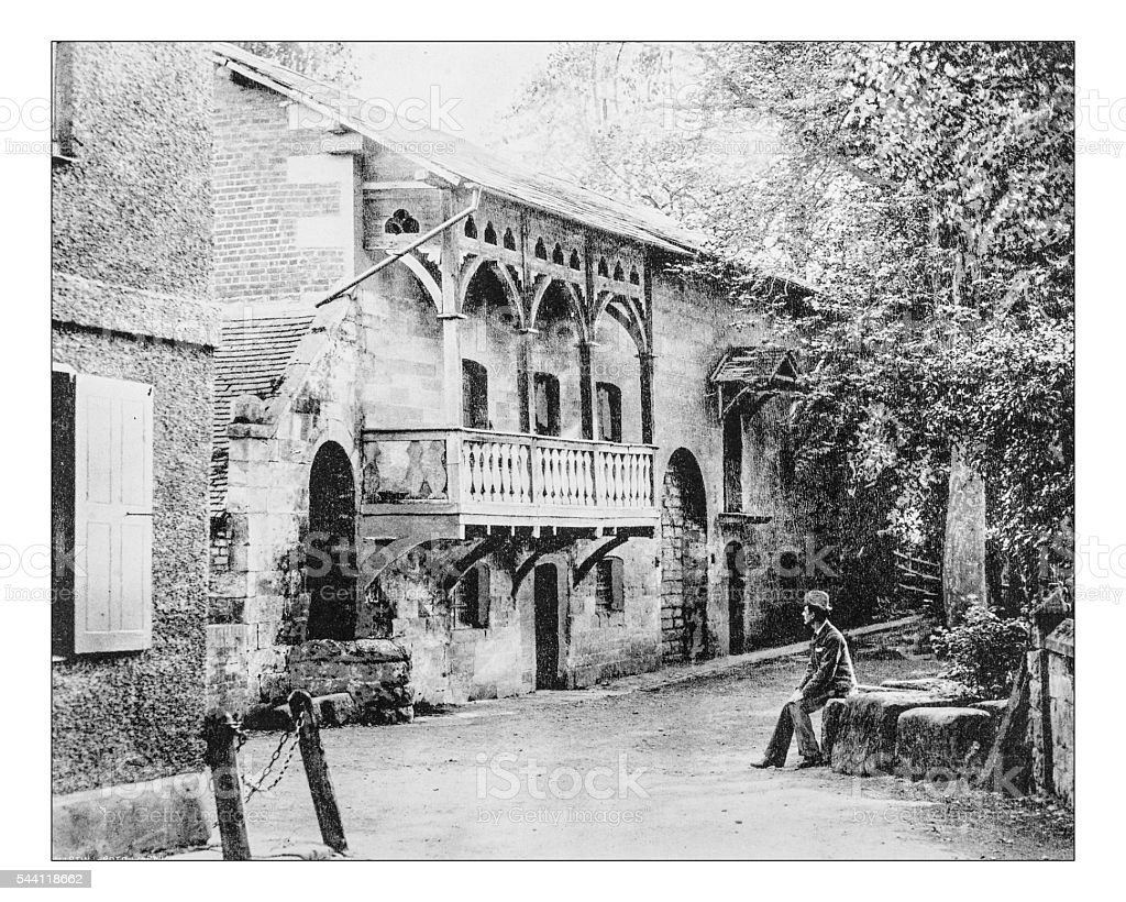Antique photograph of buildings at Guy's Cliffe (Warwick, England)-19th century stock photo