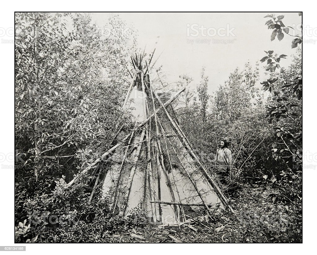 Antique photograph of burial tepee of chief's wife stock photo