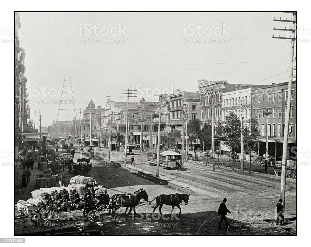 Antique photograph of Canal Street, New Orleans stock photo