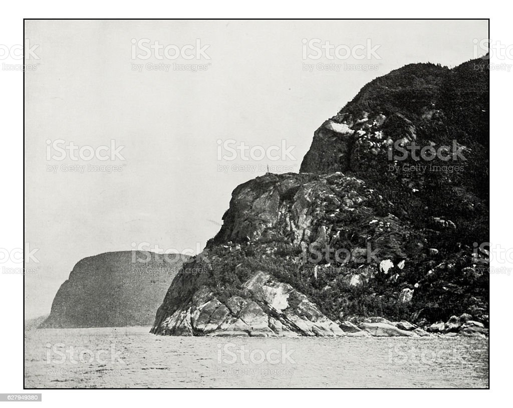 Antique photograph of Cape Trinity and Cape Eternity stock photo