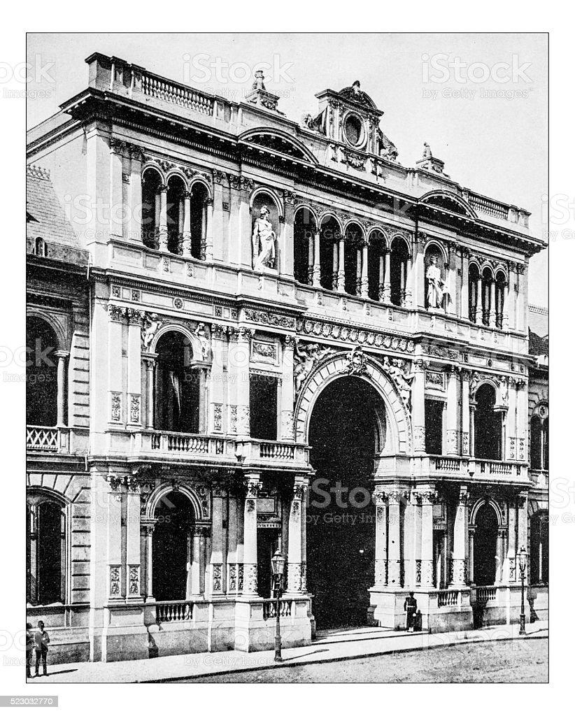 Antique photograph of Casa Rosada (Buenos Aires,Argentina)-19th century stock photo