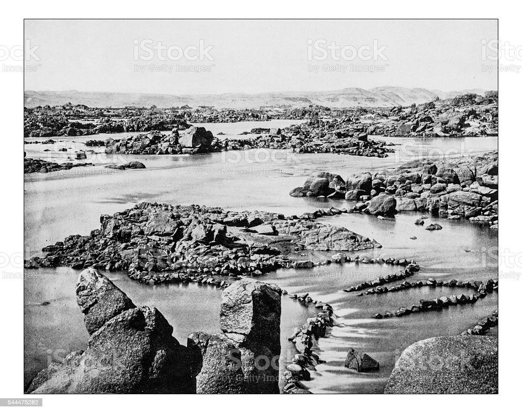 Antique photograph of cataract of Nile River (Egypt)-19th century stock photo