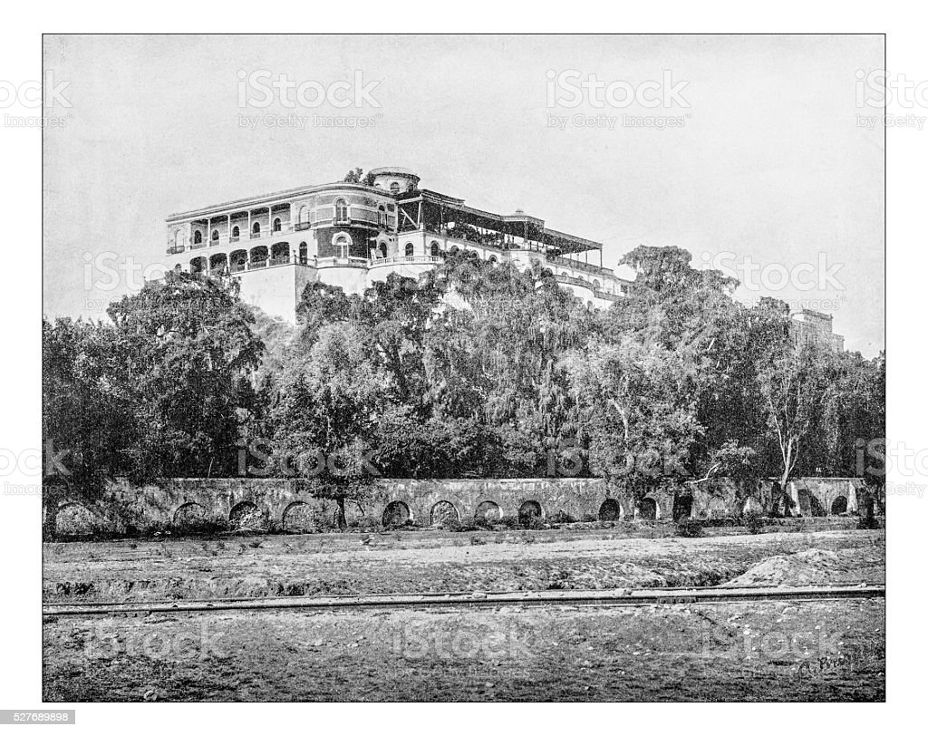 Antique photograph of Chapultepec Castle (Mexico City, Mexico)-19th century stock photo