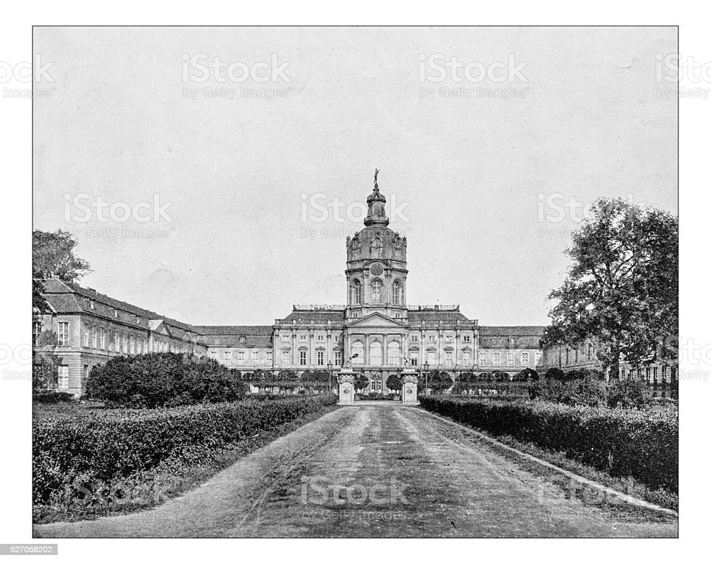 Antique photograph of Charlottenburg Palace (Berlin, Germany) stock photo