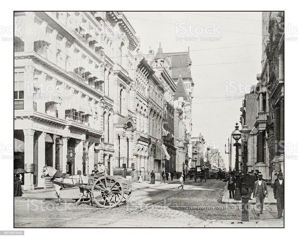 Antique photograph of Chestnut Street, Philadelphia stock photo