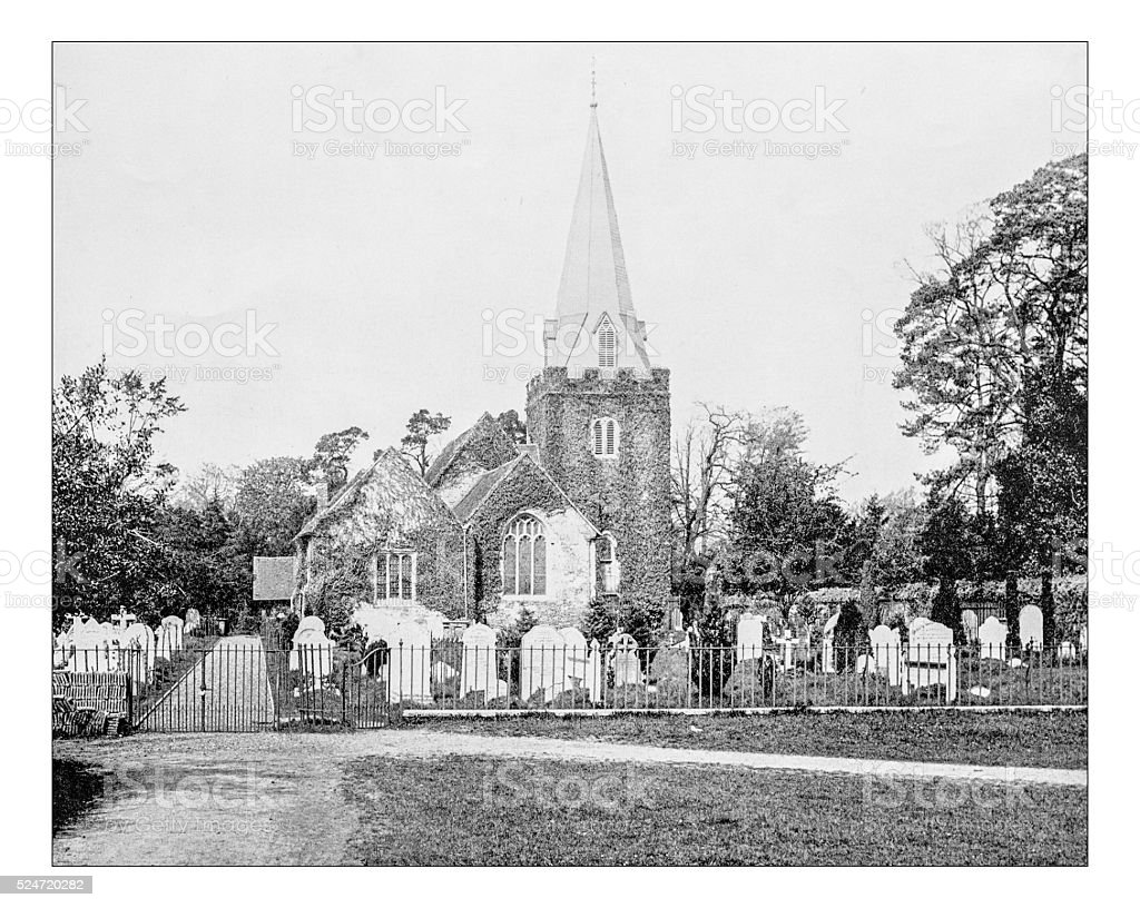 Antique photograph of church of Saint Giles-Stoke Poges (England) stock photo