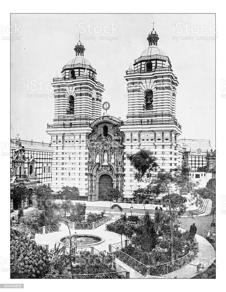 Antique photograph of church/Monastery of San Francisco, Lima-Perù-19th century stock photo