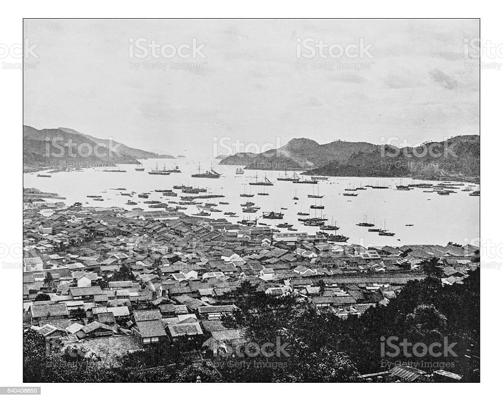 Antique photograph of city and harbor of Nagasaki (Japan-19th century) stock photo
