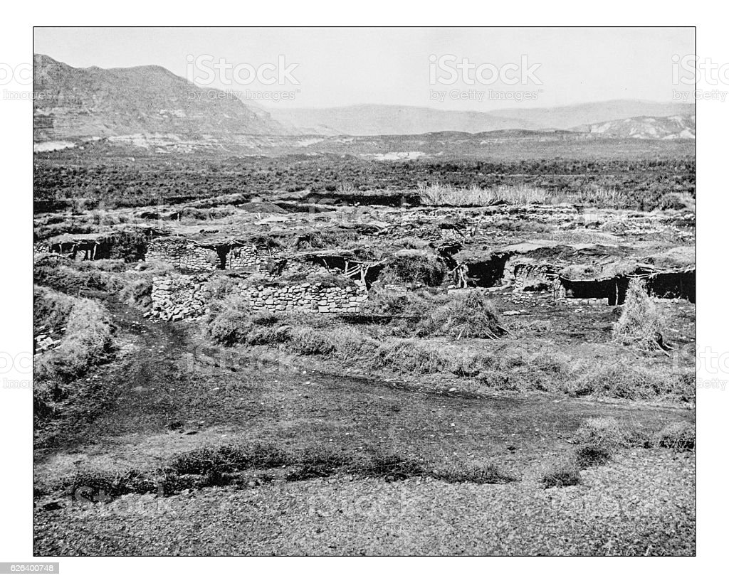 Antique photograph of city of Jericho stock photo