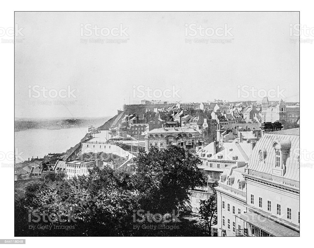 Antique photograph of cityscape of 19th century Quebec City (Canada) stock photo