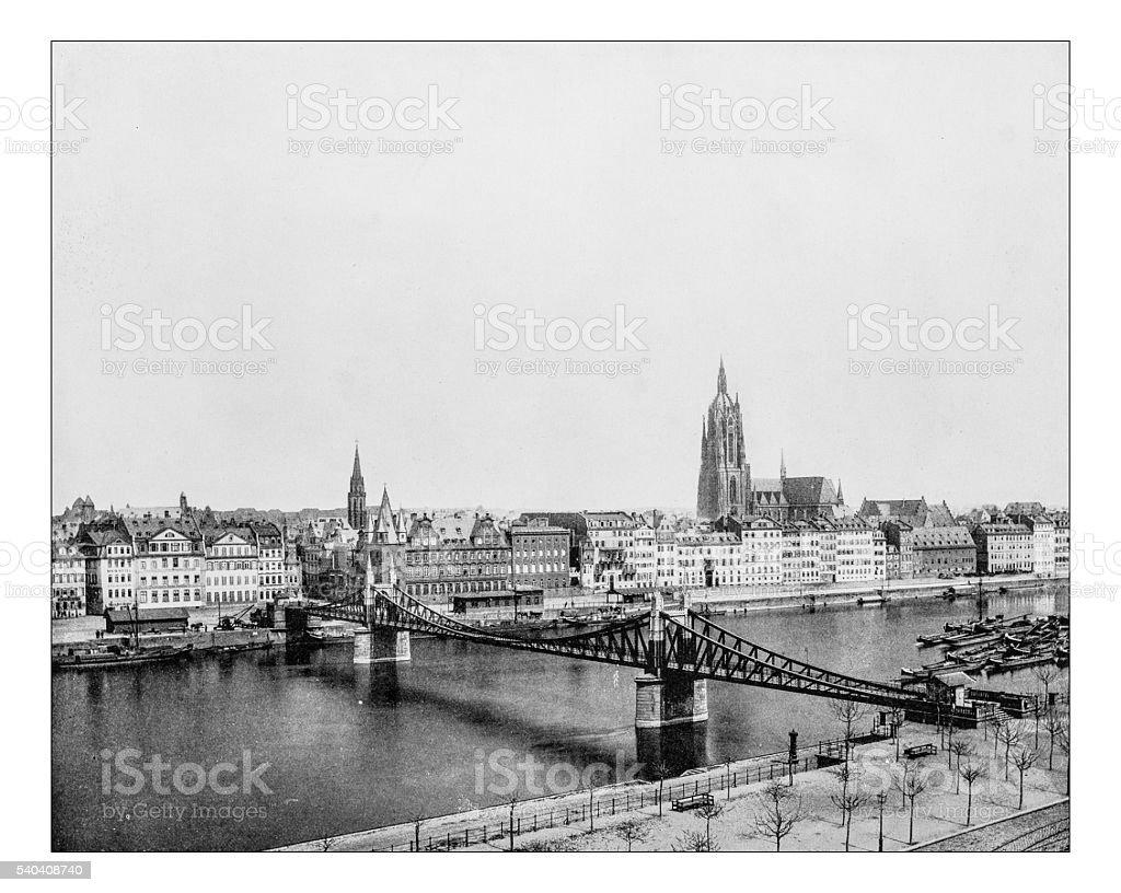 Antique photograph of cityscape of Frankfurt am Main (Germany-19th century) stock photo