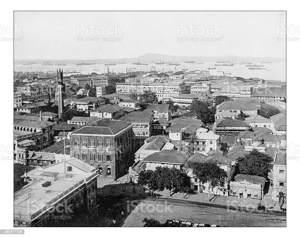 Antique photograph of cityscape of Mumbai (India)-19th century stock photo