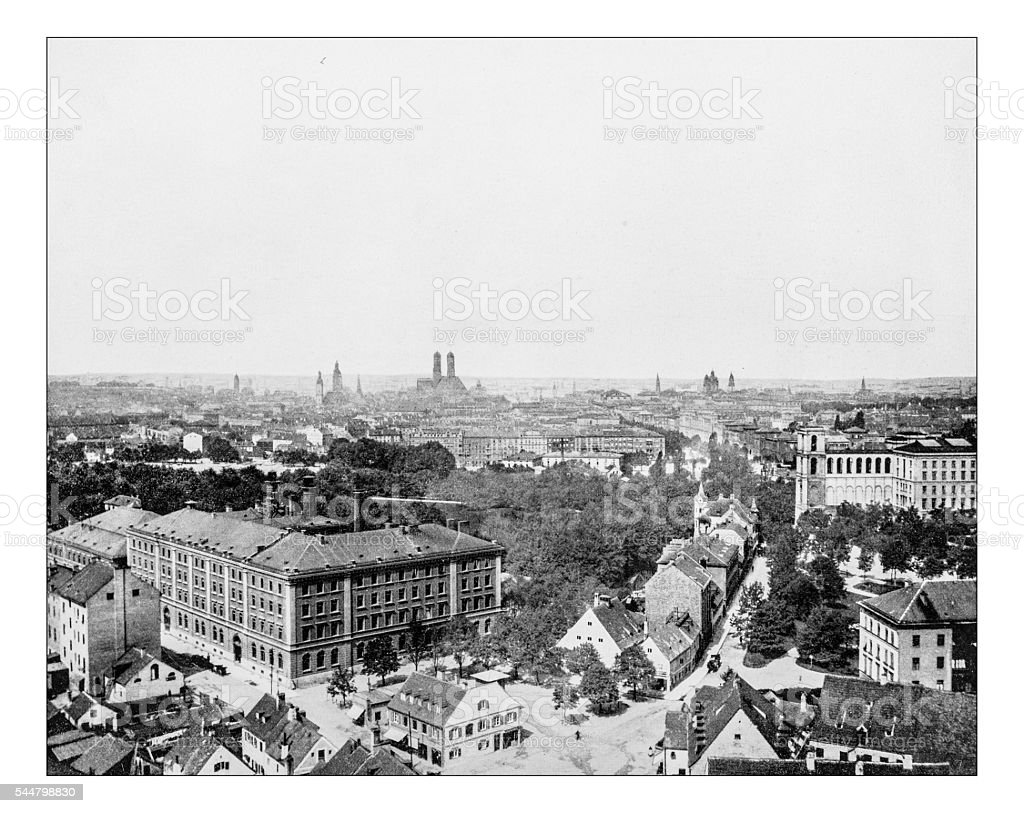 Antique photograph of cityscape of Munich (Germany)-19th century stock photo