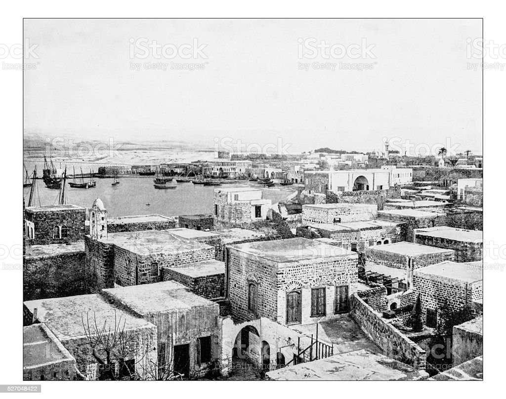 Antique photograph of cityscape of Tyre (Lebanon)-19th century stock photo