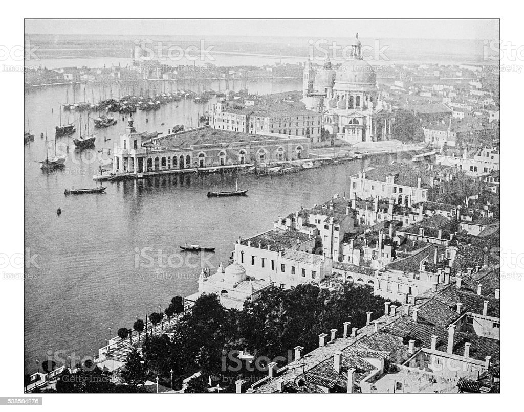 Antique photograph of cityscape of Venice (Italy)-Grand Canal (19th century) stock photo