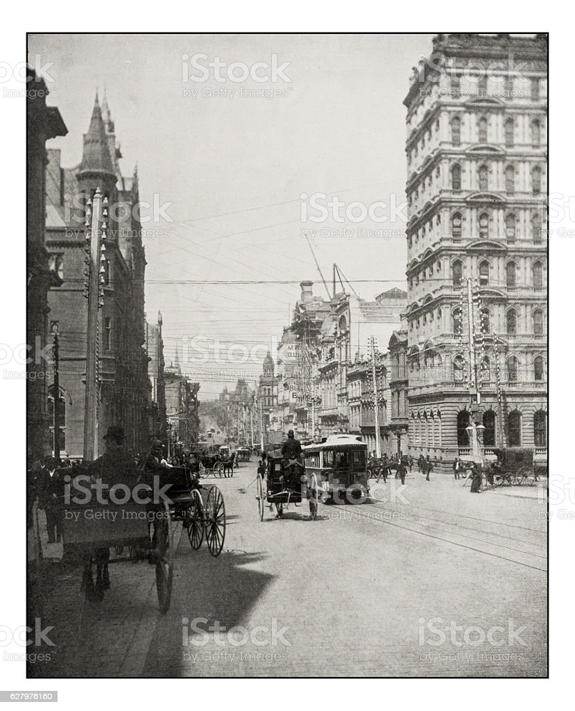 Antique photograph of Collins Street, Melbourne stock photo