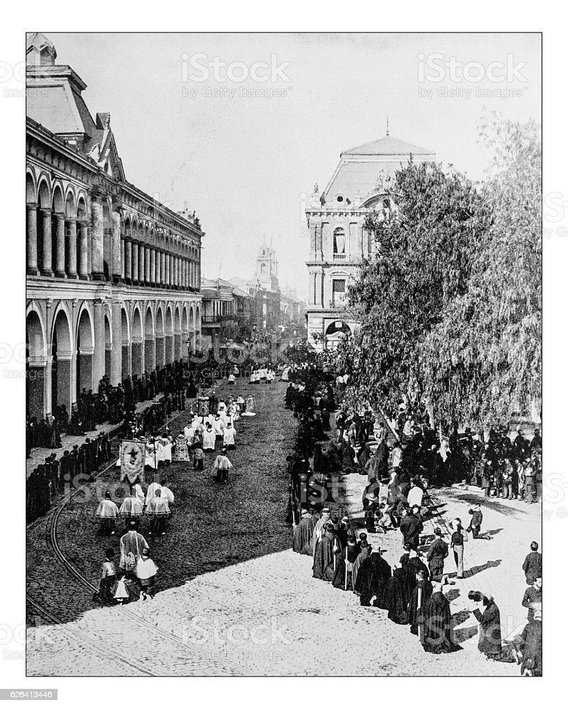 Antique photograph of Corpus Christi procession in Santiago (Chile)-19th century stock photo
