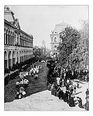 Antique photograph of Corpus Christi procession in Santiago (Chile)-19th century