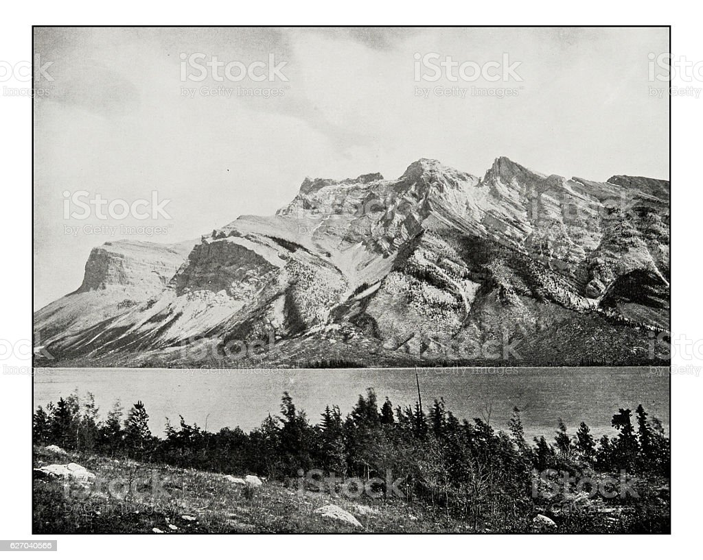 Antique photograph of Devil's lake or Minnewauka, Canadian national park stock photo