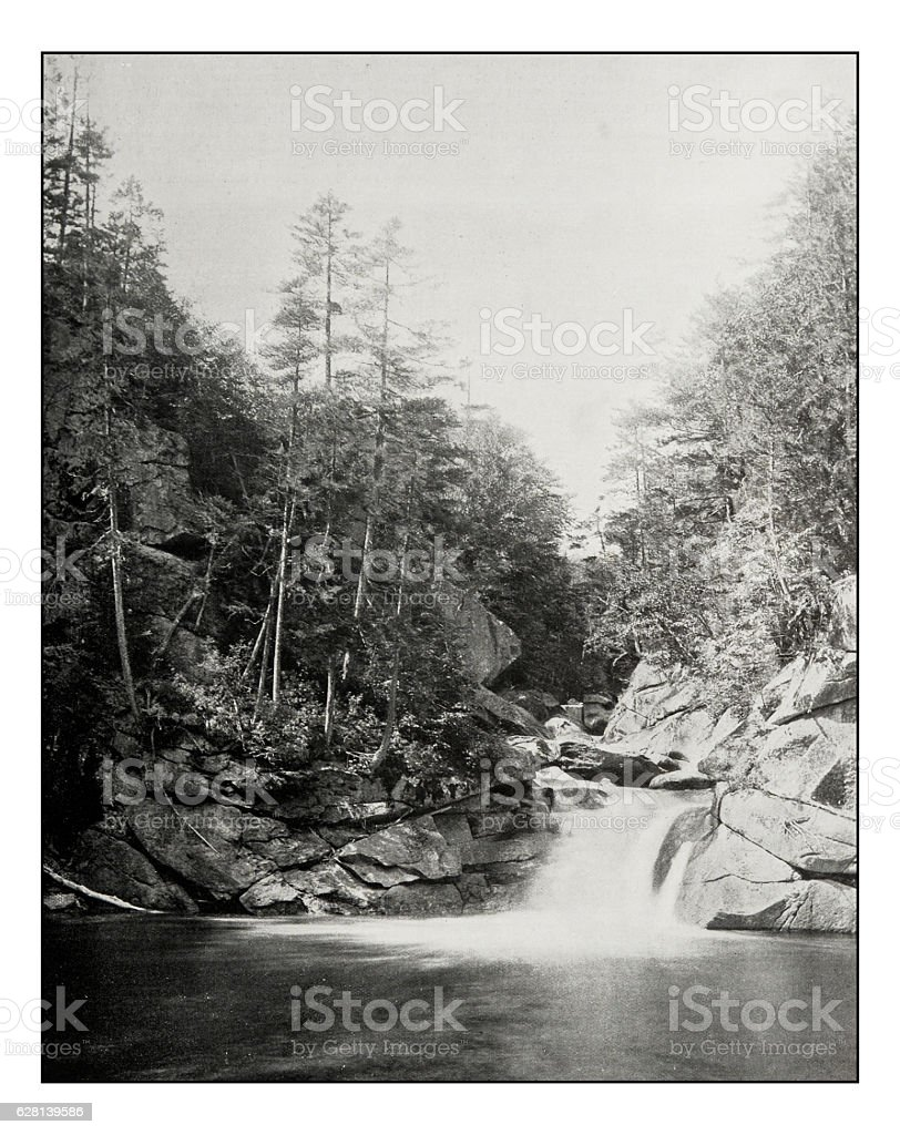 Antique photograph of Devil's pool, White mountains, New Hampshire stock photo