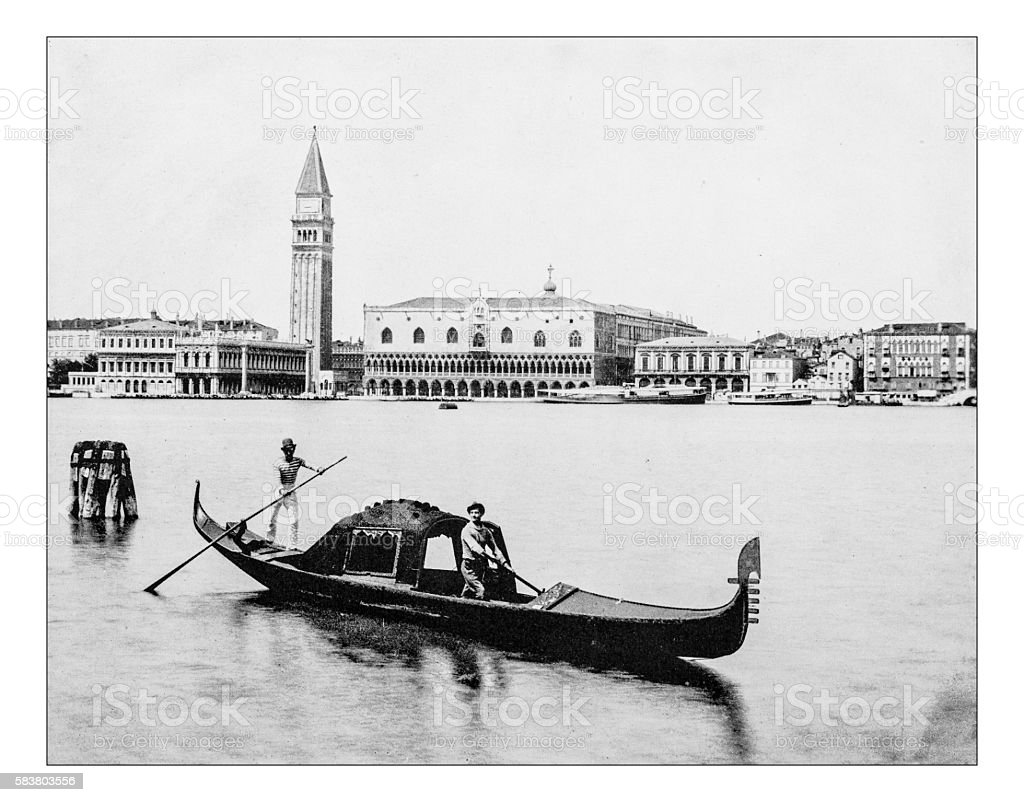 Antique photograph of Doge's Palace (Palazzo Ducale)  Venice (Italy)-19th century stock photo