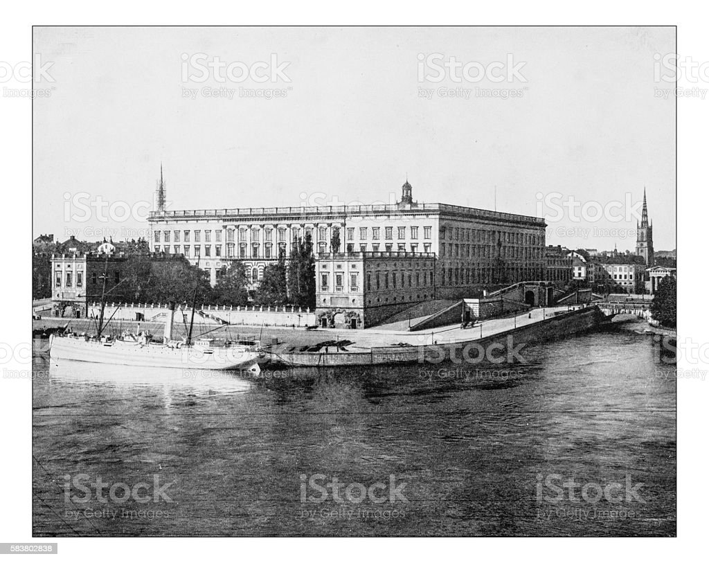 Antique photograph of eastern facade of Stockholm Palace (Sweden)-19th century stock photo