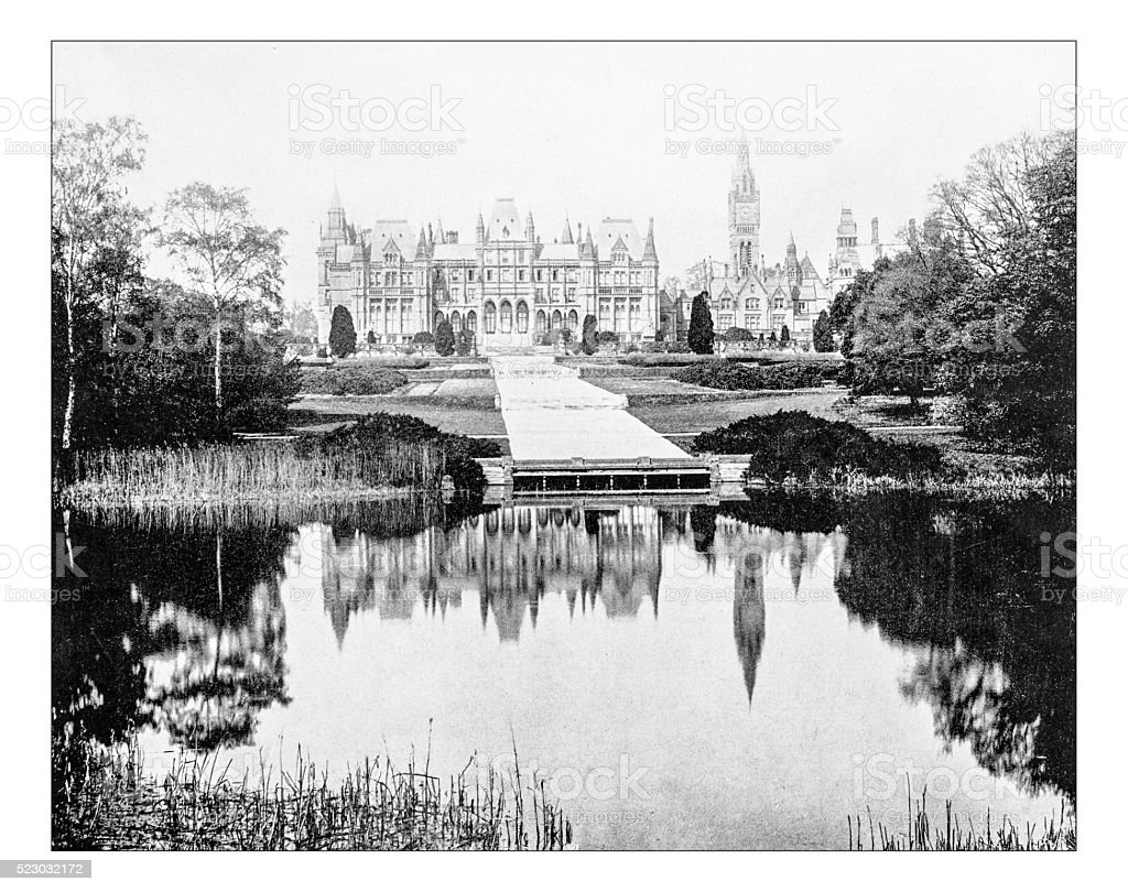 Antique photograph of Eaton Hall (near Chester, England) stock photo